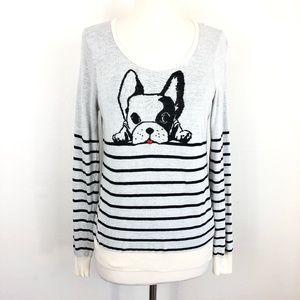 Anthropologie HWR Monogram Top Dog Sweater